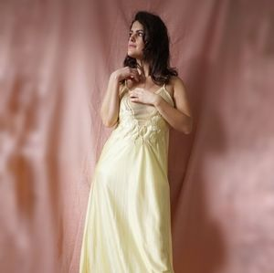 Vintage Yellow Beaded Nightgown Set